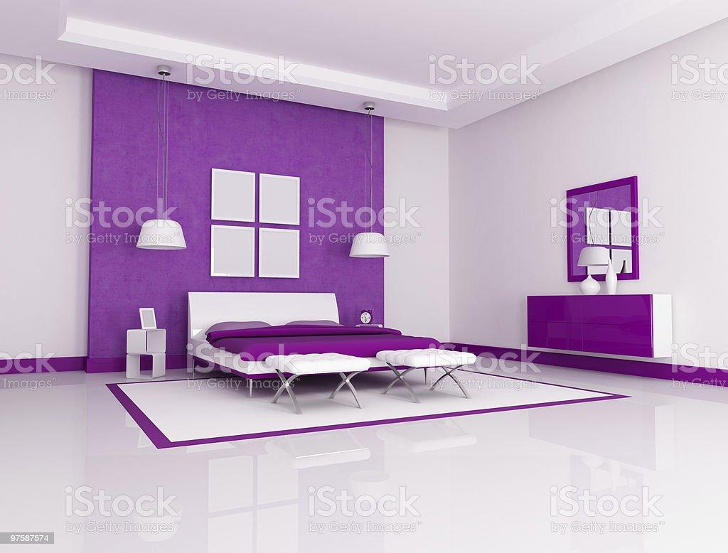 Purple bedroom royalty-free stock photo