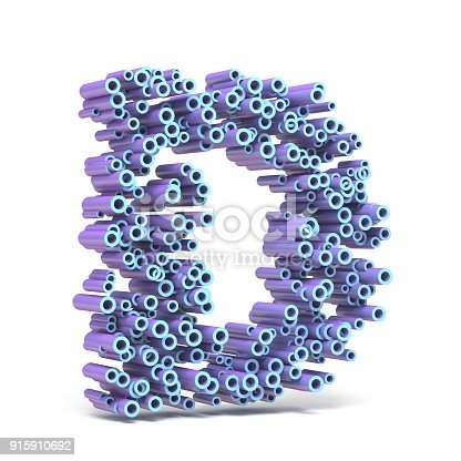583978154 istock photo Purple blue font made of tubes LETTER D 3D 915910692