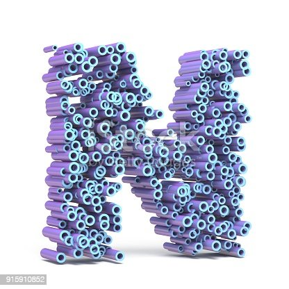 istock Purple blue font made of tubes LETTER N 3D 915910852