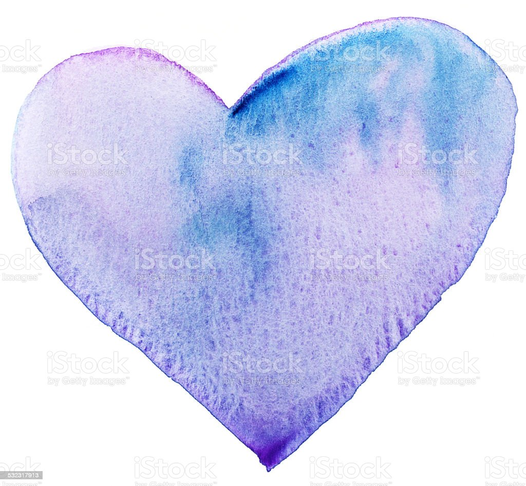 Purple Blue painted heart stock photo