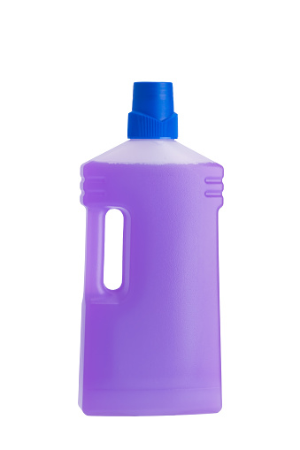 istock purple bottle with means for cleaning and disinfection, isolated on white 1076150168