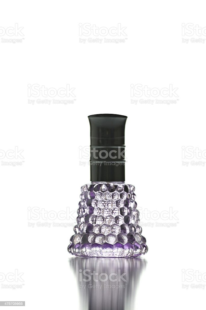 Purple Bottle with Perfume isolated. royalty-free stock photo