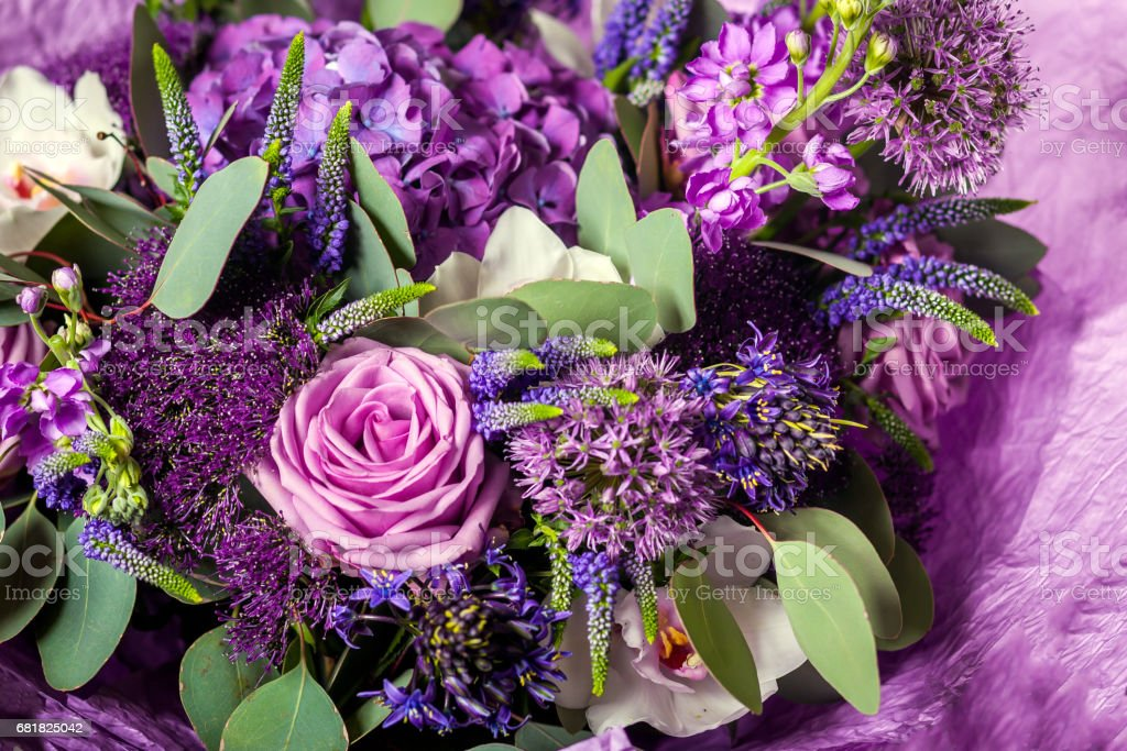Purple bouquet with a variety of colors stock photo