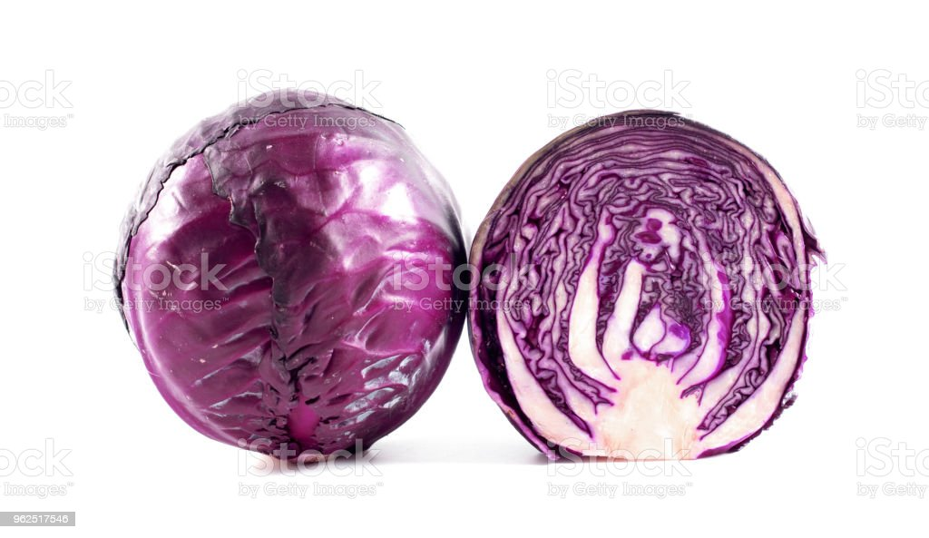 Purple cabbage isolated on white background. - Royalty-free Agriculture Stock Photo