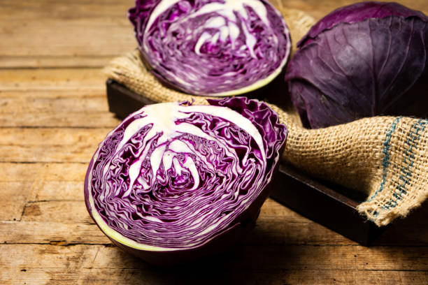 Purple cabbage on a rustic wooden table