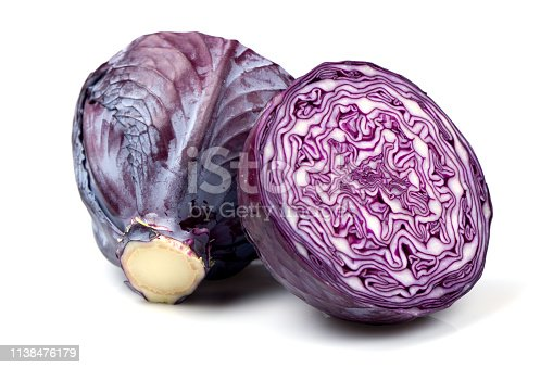 Purple cabbages on white background