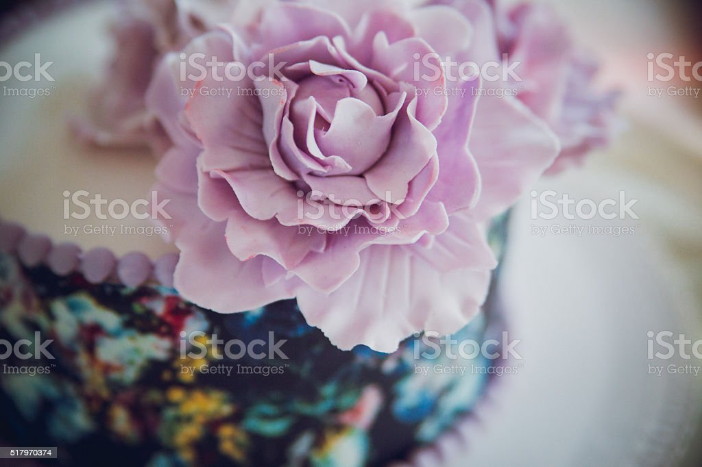 Purple Cake decorated with flowers stock photo