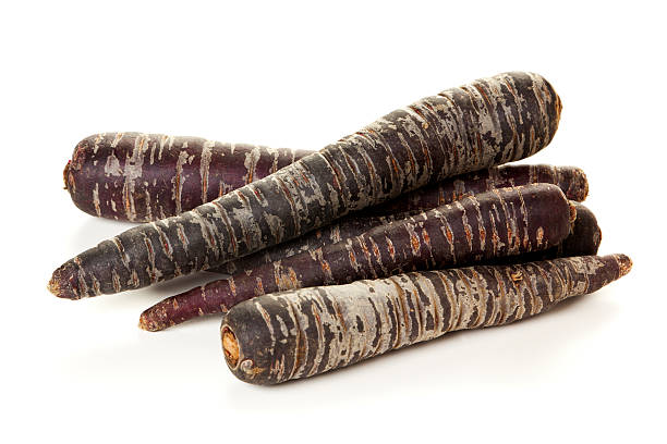 Purple Carrots isolated stock photo