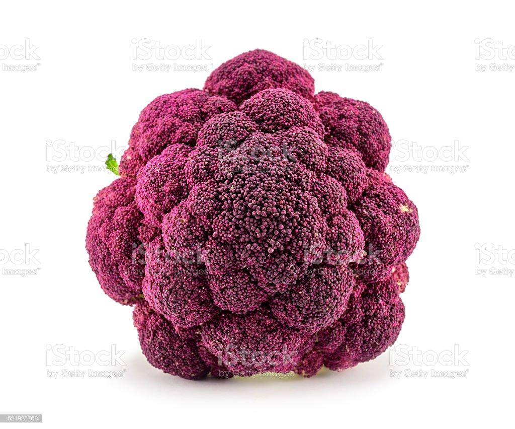 Purple cauliflower closeup isolated on white stock photo