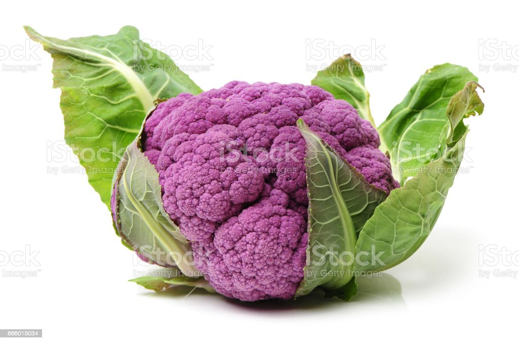 Purple Cauliflower isolate on white background stock photo