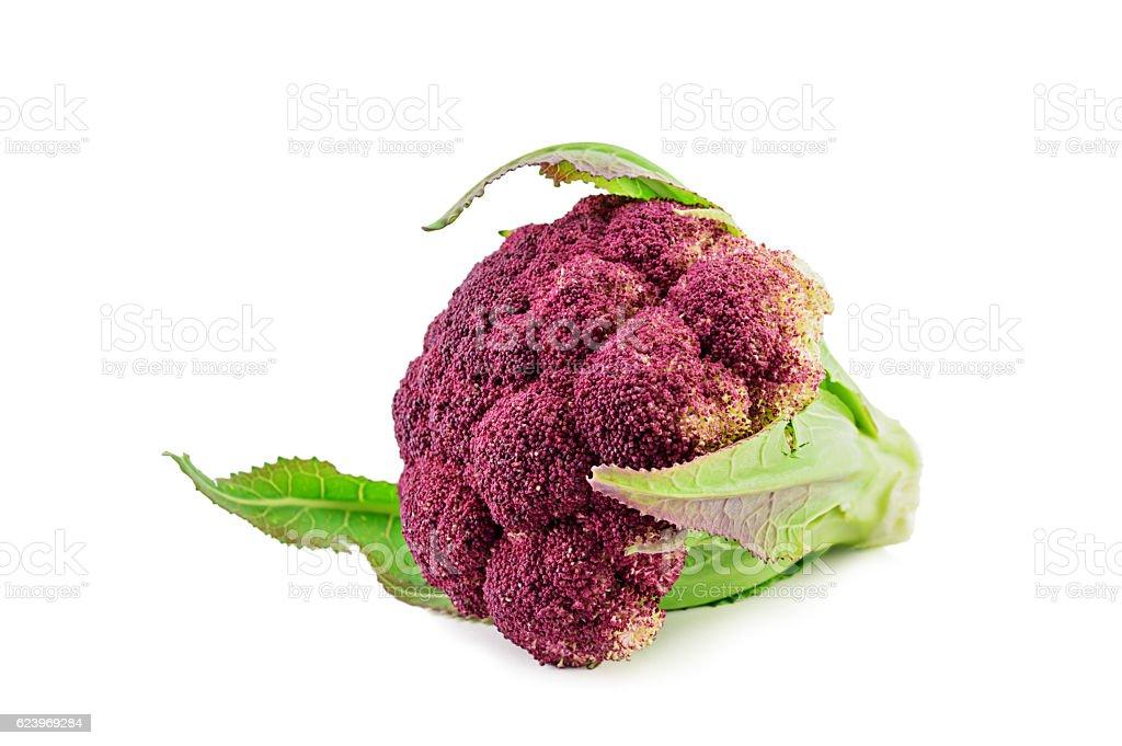 Purple cauliflower isolated on white stock photo