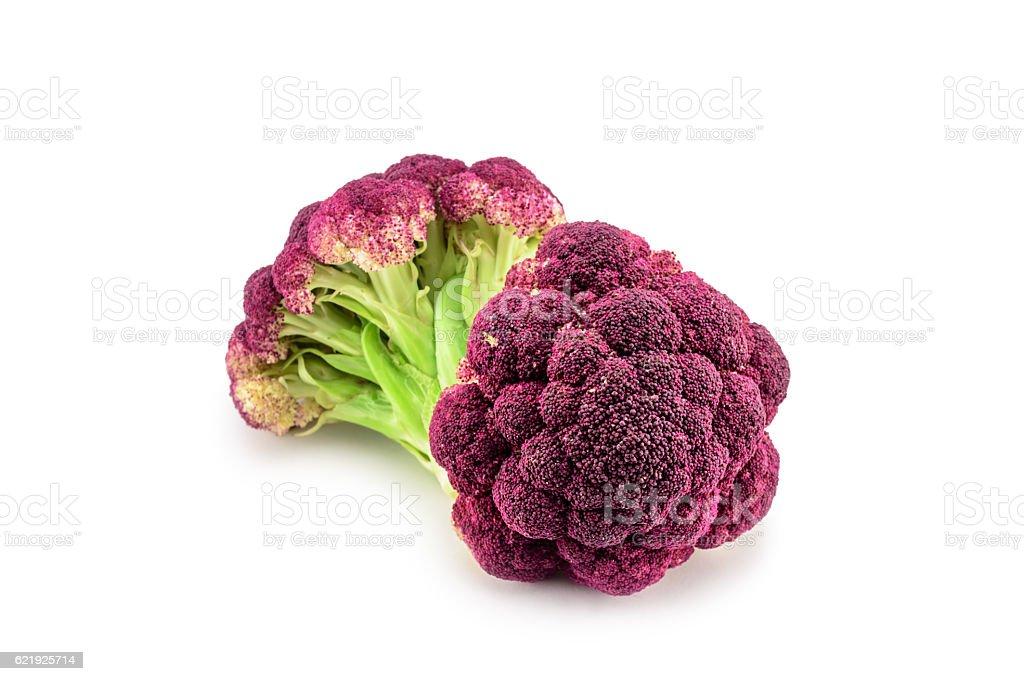 Purple cauliflower isolated on white. Selective focus stock photo