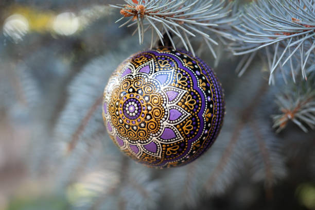 Purple christmas ball stock photo