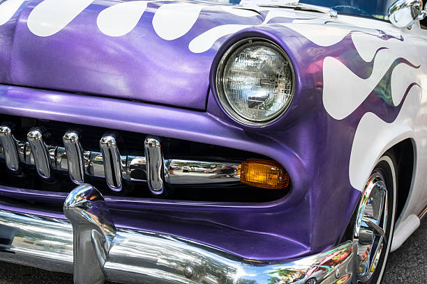 Purple Classic Muscle Car With Chrome And Flames Stock Photo More