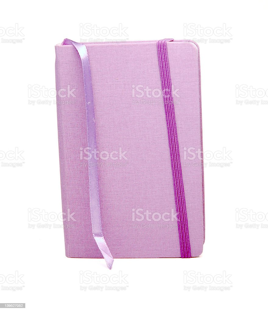 Purple Cloth-covered Notebook stock photo