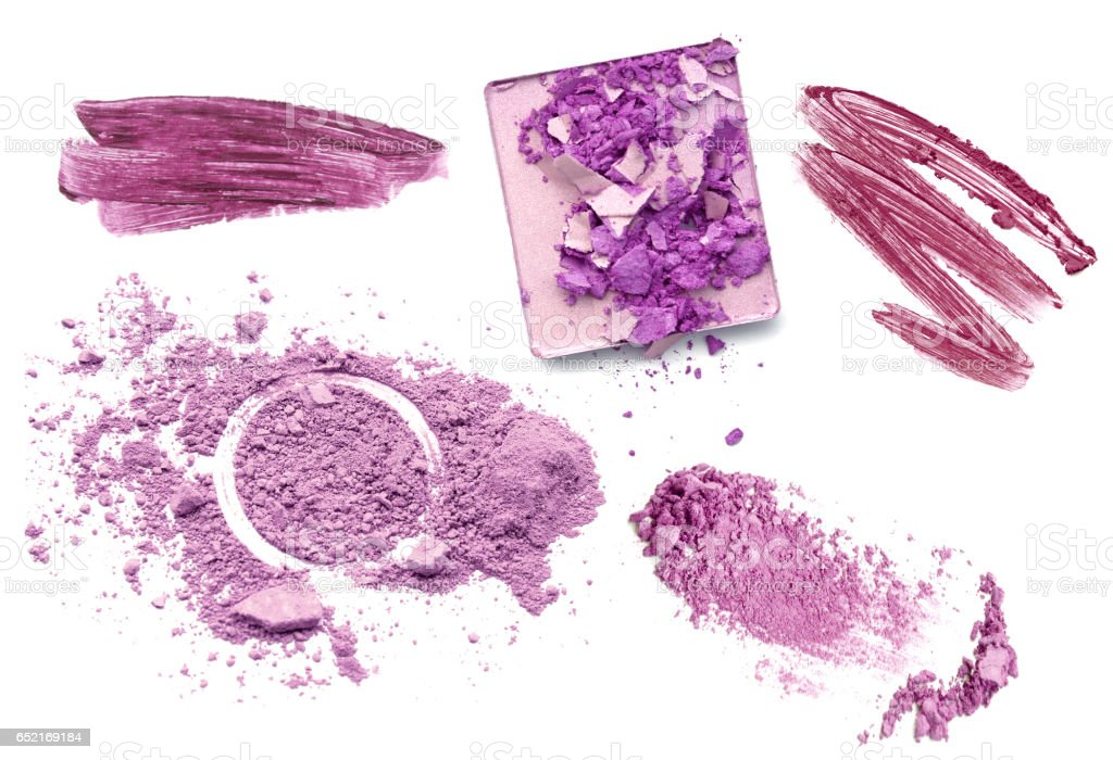Purple color tone make up cosmetic product. Powder lip gloss and eye-shadow. stock photo