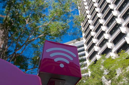 istock Purple colored WiFi sign 1197268277