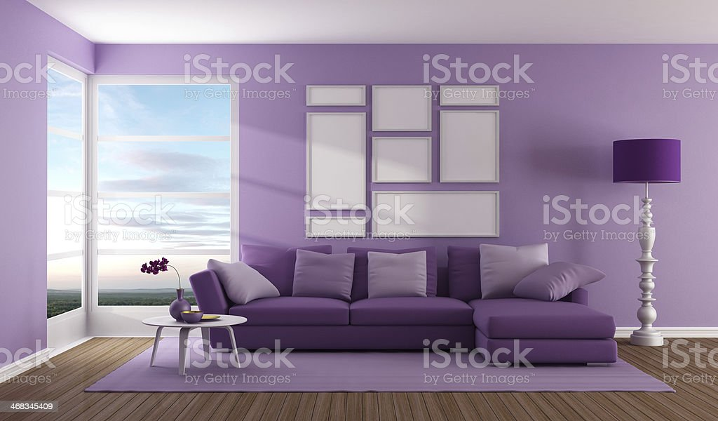 Purple contemporary living room royalty-free stock photo