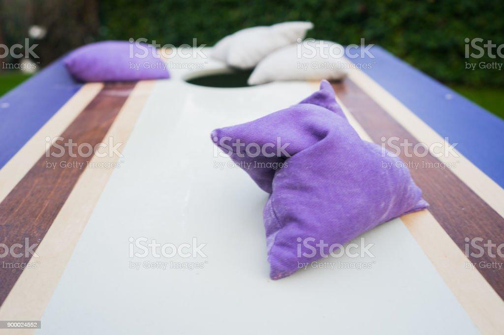 Purple Cornhole Bean Bag Toss Game stock photo