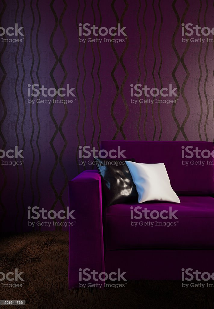 Purple couch in the interior in dark colors stock photo
