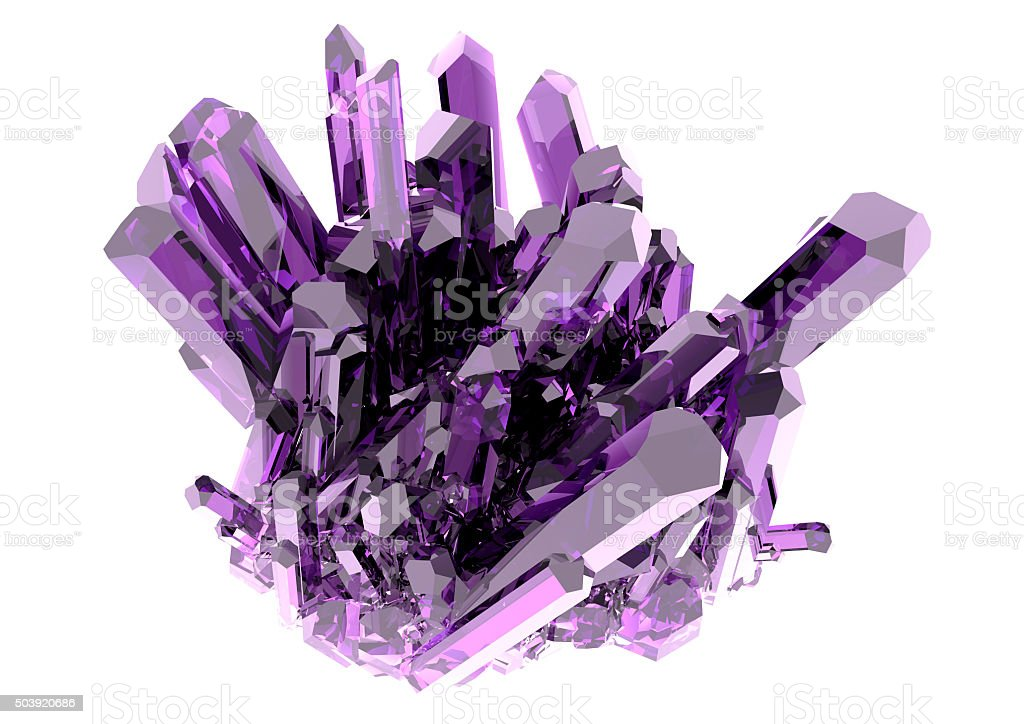 Purple crystal on a white background isolated stock photo