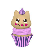 purple cupcake with kitten in kawaii style.