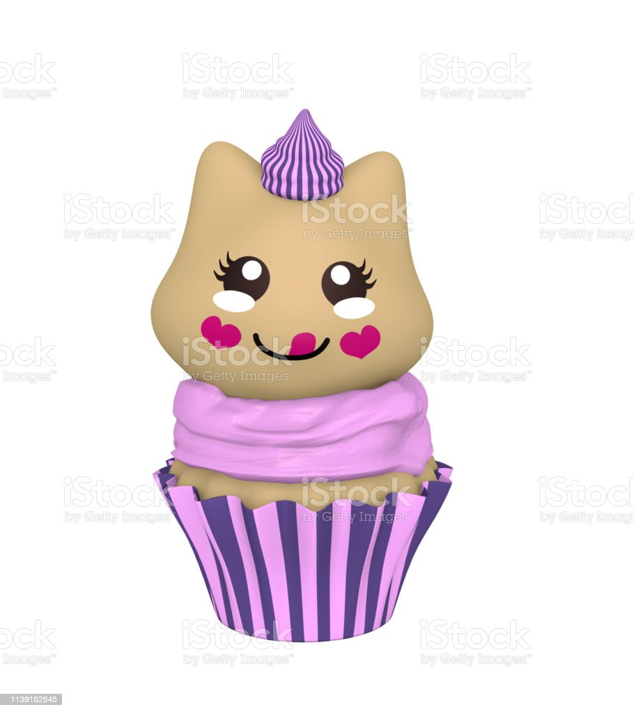 Violette Cupcake mit Kawaii-Stil. – Foto
