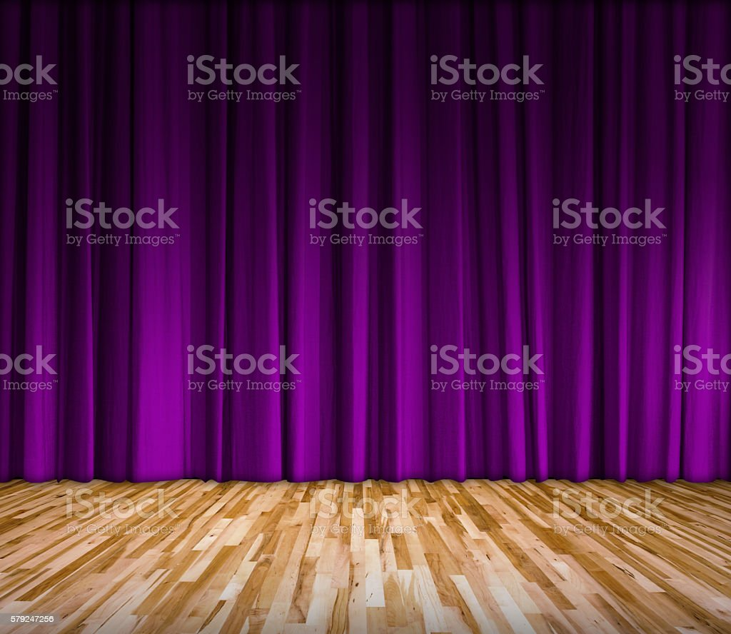 purple curtain and wooden floor interior background – Foto