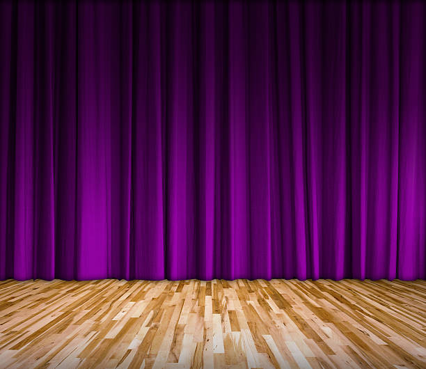 purple curtain and wooden floor interior background - lila vorhänge stock-fotos und bilder