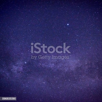 532378051 istock photo Purple dark night sky with many stars 596805090