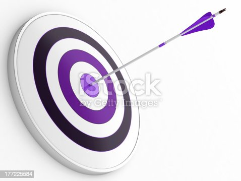 469652019 istock photo A purple dart stuck in a purple target on white 177225584