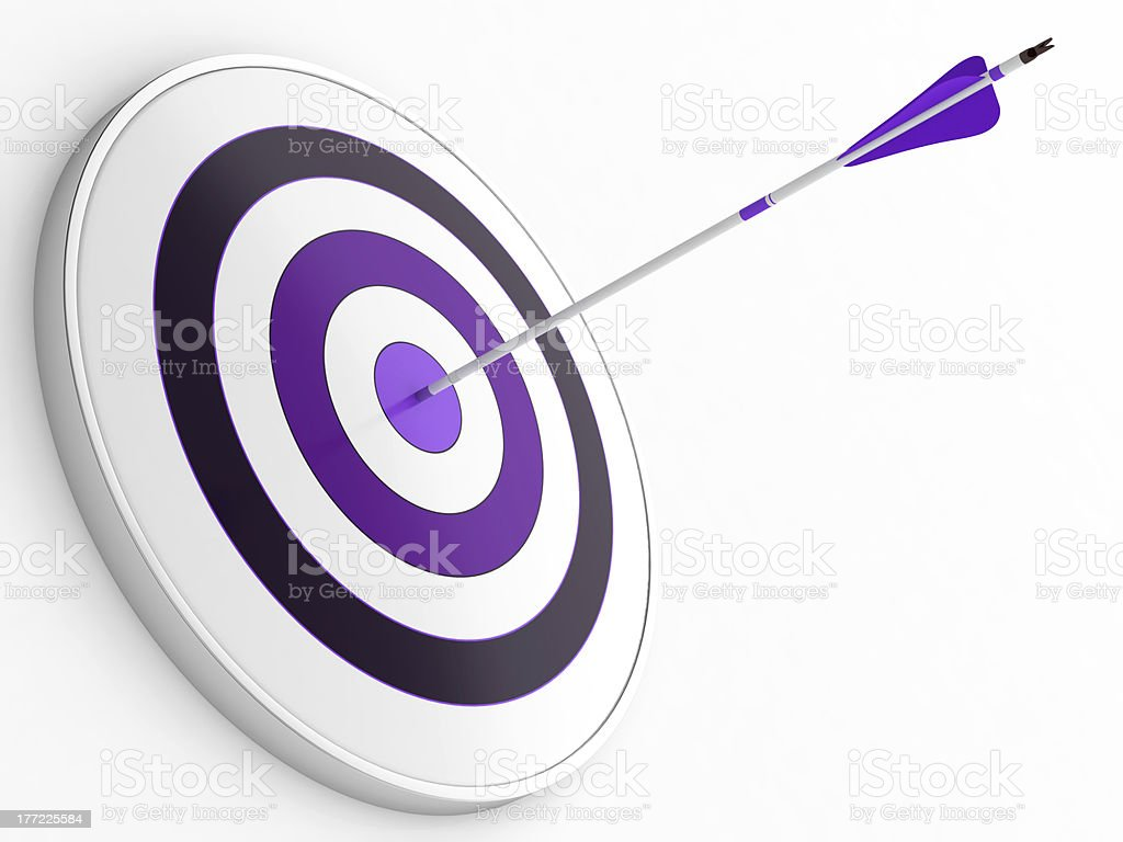 A purple dart stuck in a purple target on white stock photo