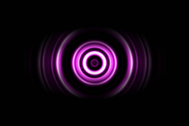 Purple digital sound wave or circle signal, abstract background stock photo