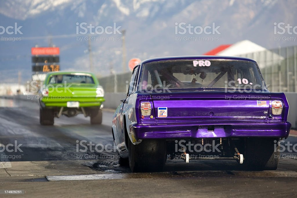 Purple Drag Car Up Next royalty-free stock photo
