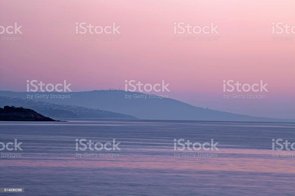 Purple Dusk at Mornington Peninsula, Australia stock photo