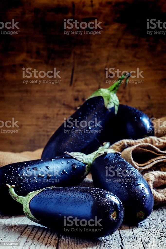 Purple eggplants stock photo