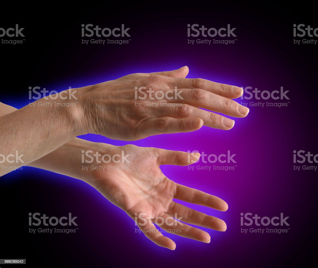 Purple Electromagnetic Healing Energy Aura stock photo