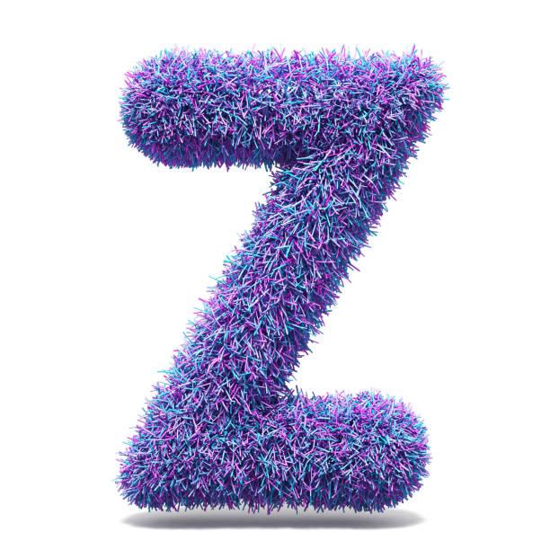 Purple faux fur LETTER Z 3D stock photo