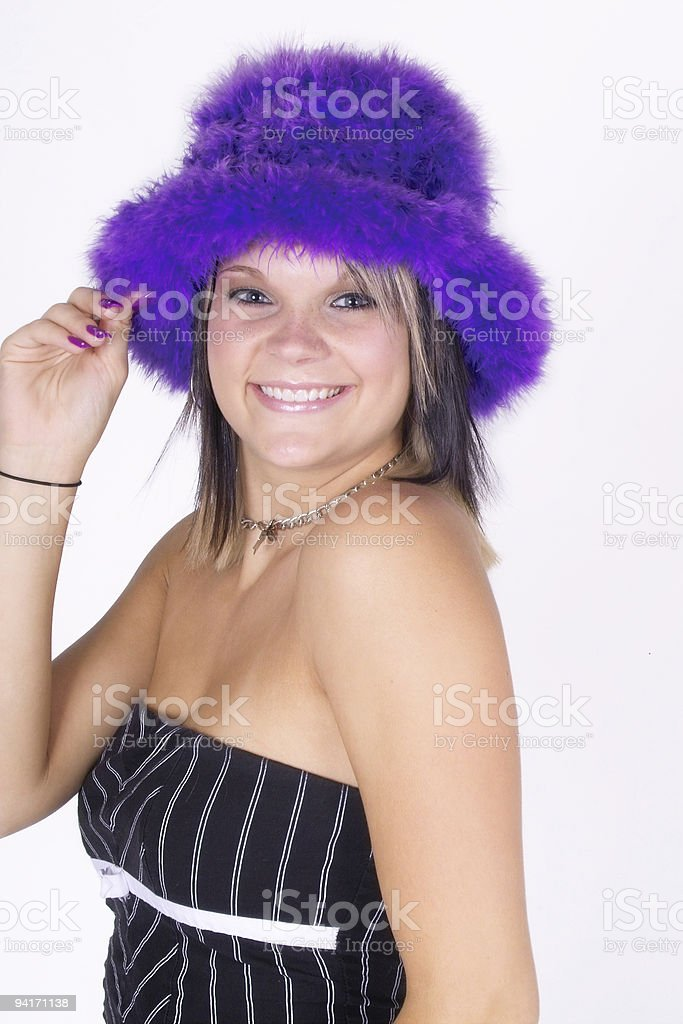 Purple Feather Fedora royalty-free stock photo