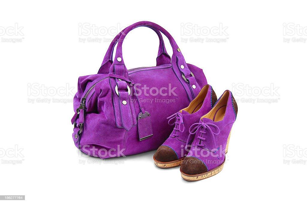 Purple female bag&shoes-1 royalty-free stock photo
