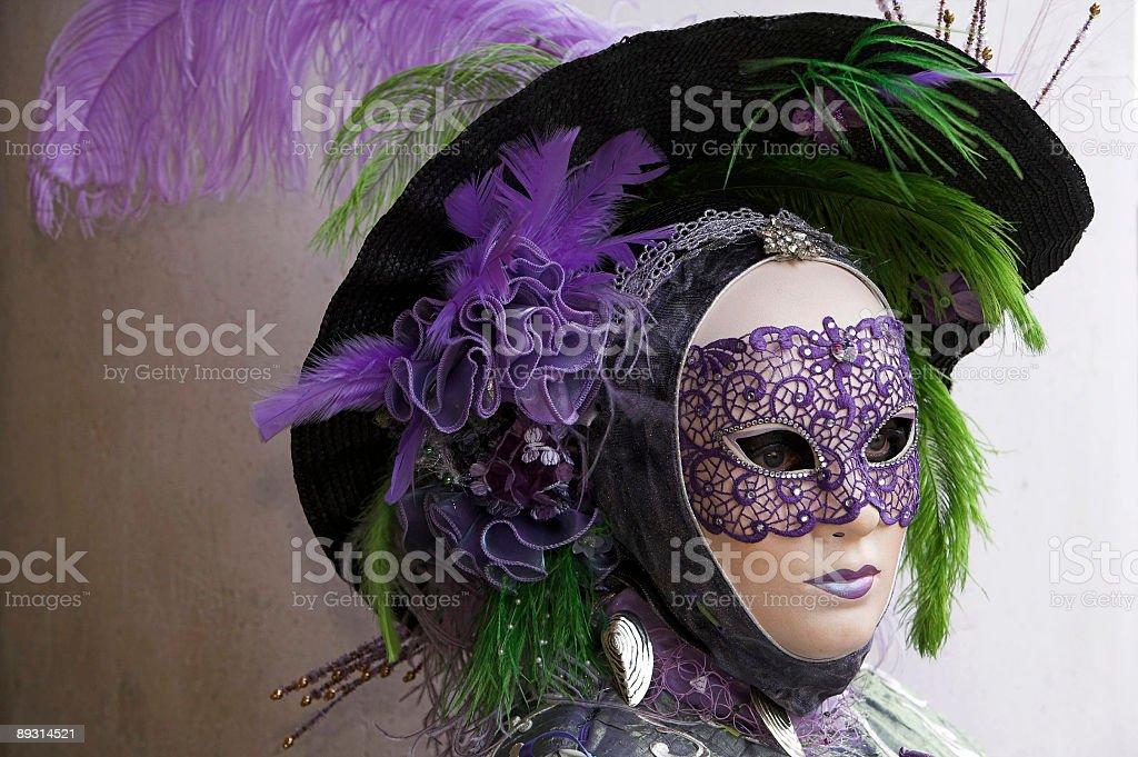 Purple Female Carnival mask in Venice royalty-free stock photo