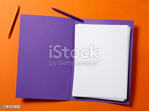 Purple File with White Paper on a orange background.