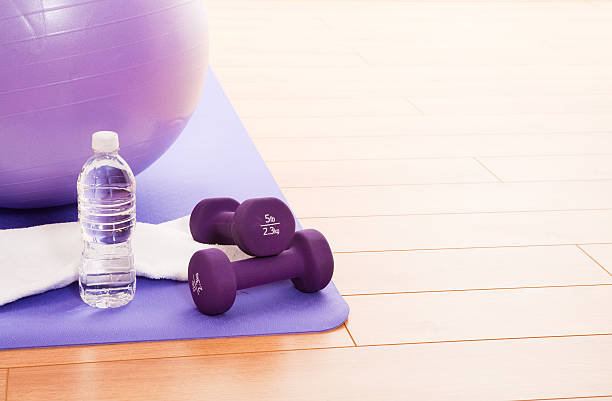 Purple Fitness Ball stock photo