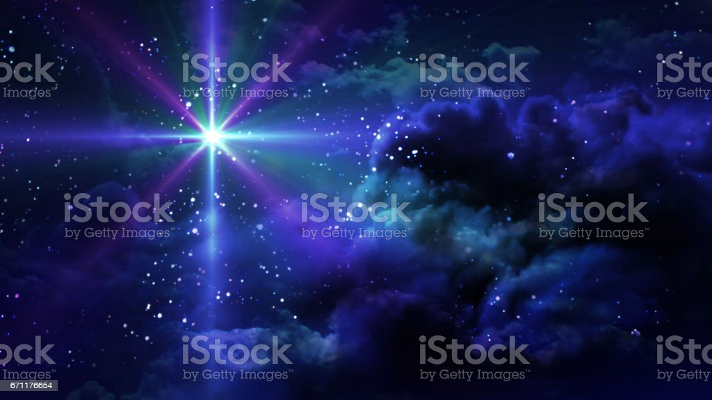 purple flare star at starry night stock photo
