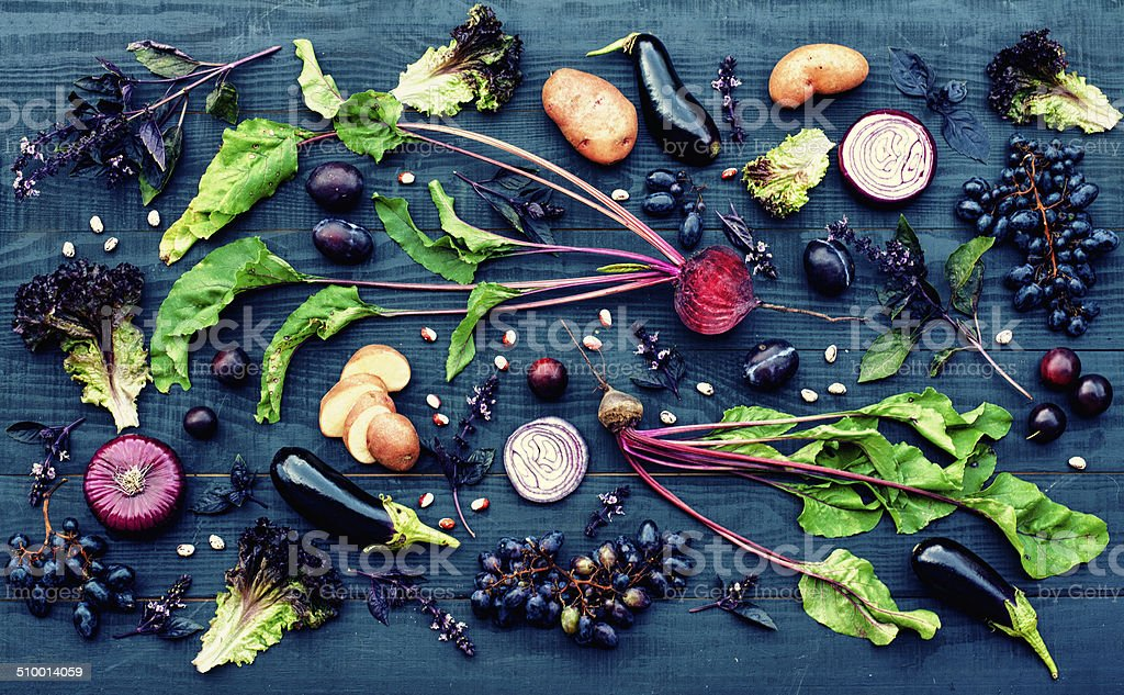 Purple fruit and vegetables stock photo