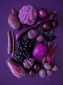 Looking down on monochrome purple fruits and vegetables