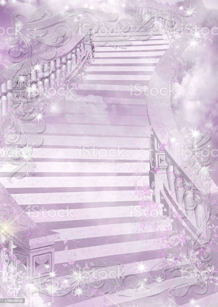 Purple gentle colourful illustration of a ladder - astral and stock photo