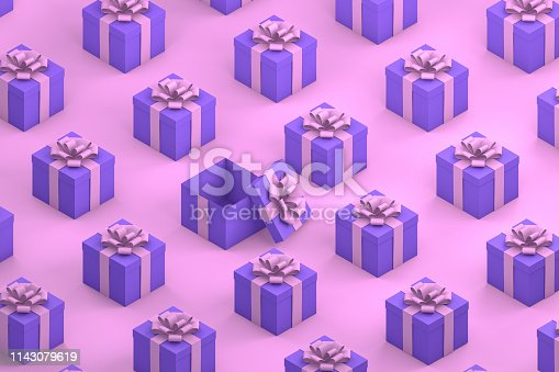 1073585628 istock photo Purple Gift Boxes with Pink Ribbon Minimal 3d Design, Isometric View 1143079619