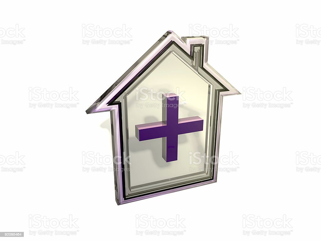 3D purple glass house royalty-free stock photo