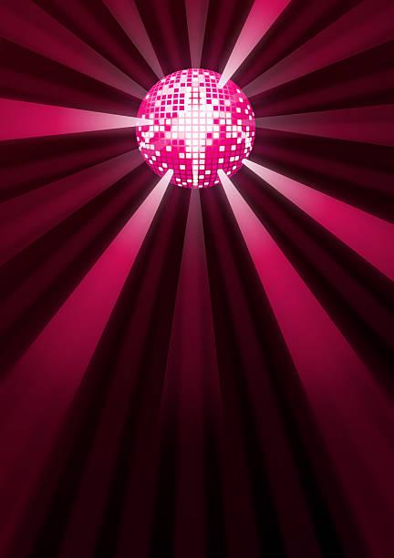 Purple glitter disco mirrorball stock photo
